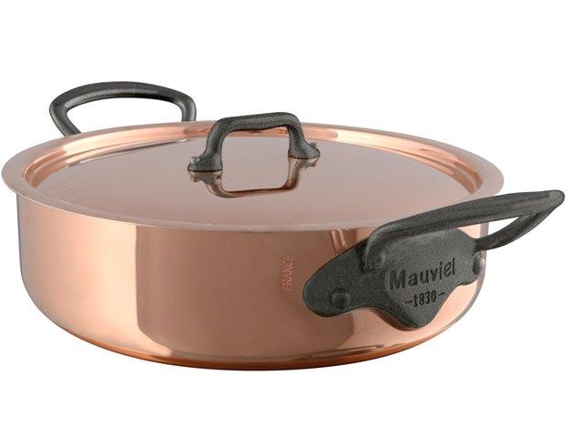 Mauviel M'150c² Kupfer Niederer Bratentopf mit Deckel Eisengriff-Optik