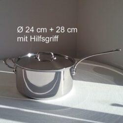 Mauviel M'cook 5210 Kasserolle Stieltopf mit Deckel 24 cm und 28 cm mit Hilfsgriff - Edelstahlgriff