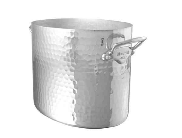 Mauviel M'30 ALU Ovaler Sekt- /Champagnerkühler gehämmert Edelstahlgriffe