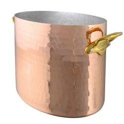 Mauviel M'30 Kupfer Ovaler Sekt-/Champagnerkühler Bronzegriffe