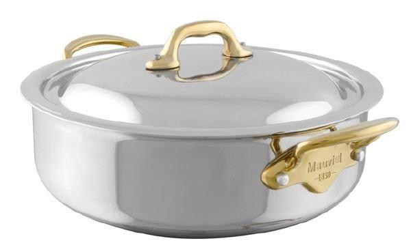 Mauviel M'cook Multi-Ply Niederer Bratentopf mit Deckel Bronzegriffe