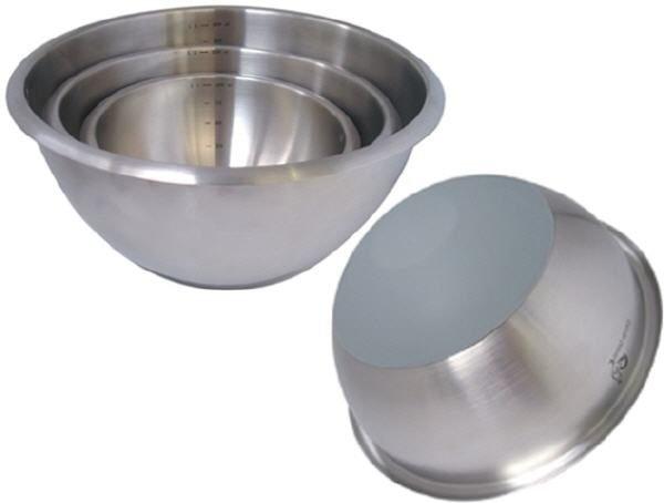 Runde Edelstahlschüssel mit Silikonboden