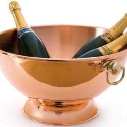 Mauviel M'30 großer Kupfer Champagnerkühler für 6 Flaschen Bronzeringe