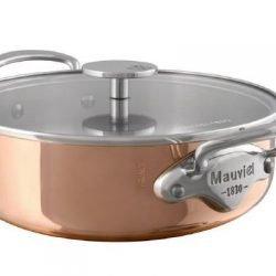 Mauviel M'150s Kupfer Niederer Bratentopf mit GLAS-Deckel Edelstahlgriffe