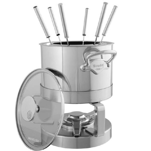 Mauviel M'cook Multi-Ply Fondue-Set mit Glasdeckel und Fonduebesteck