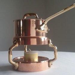 Mauviel M'minis Kupfer Kasserolle und Rechaud Bronzegriffe