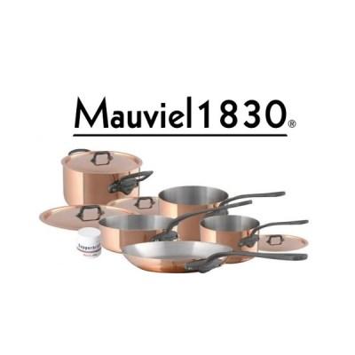 Mauviel 1830 M150c Kupfer innen Edelstahl, Topf-Set 9-teilig und Copperbrill Kupferputzpaste gratis