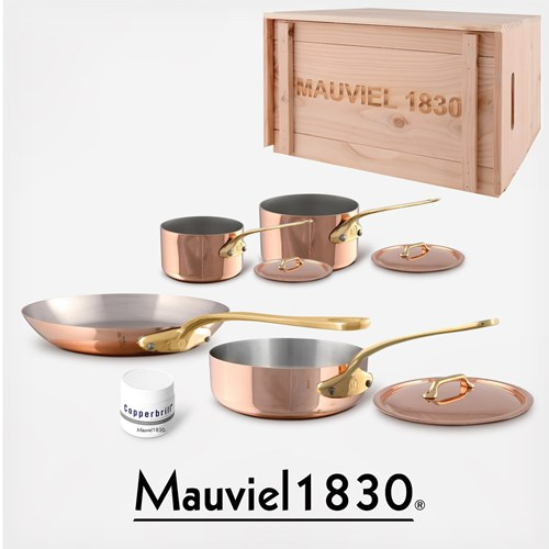 Mauviel M'Heritage M250b Bronzegriffe 2.5mm Copper Cookware Set, 7pc with Wooden Crate