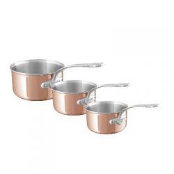 Série de 3 casseroles en cuivre induction 6 couches monture fonte d'inox bord verseur de la collection M6S.