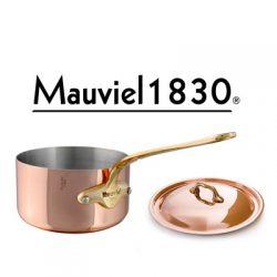 6720 Mauviel 1830 Serie M'150b Stielkasserolle mit Deckel und Logo
