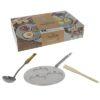 De Buyer 5612.03 MINERAL B ELEMENT Zeitloser Stahl Geschenk-Set Pfanne für 3 Blinis, Schöpflöffel und Holzspatel