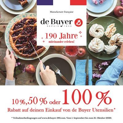 Jetzt 10%, 50% oder 100% Kaufpreisrückerstattung auf De Buyer-Artikel erhalten